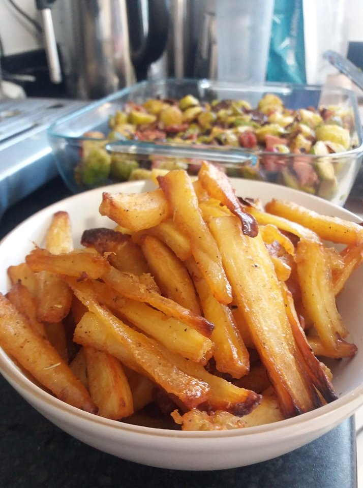 Our honey-roasted Christmas parsnips.