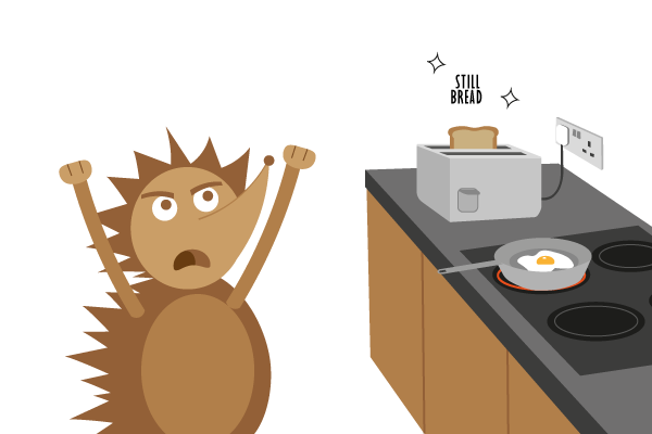 A hedgehog, mad at his ruined breakfast (don't ask).