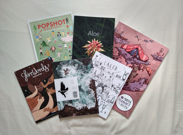 Beautiful magazines with my writing in: Popshot, Aloe, Firewords, Structo, Laced, and Purple Breakfast Review