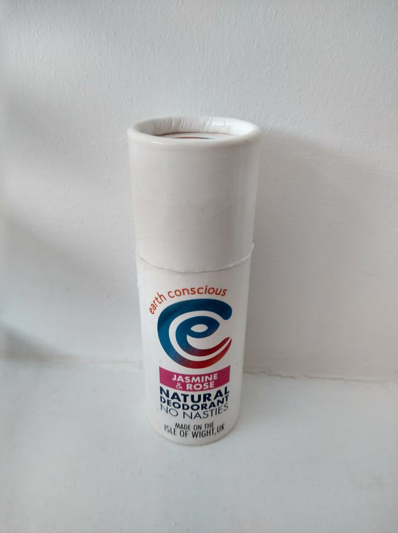Earth Conscious Jasmine & Rose deodorant stick, white cardboard tube.