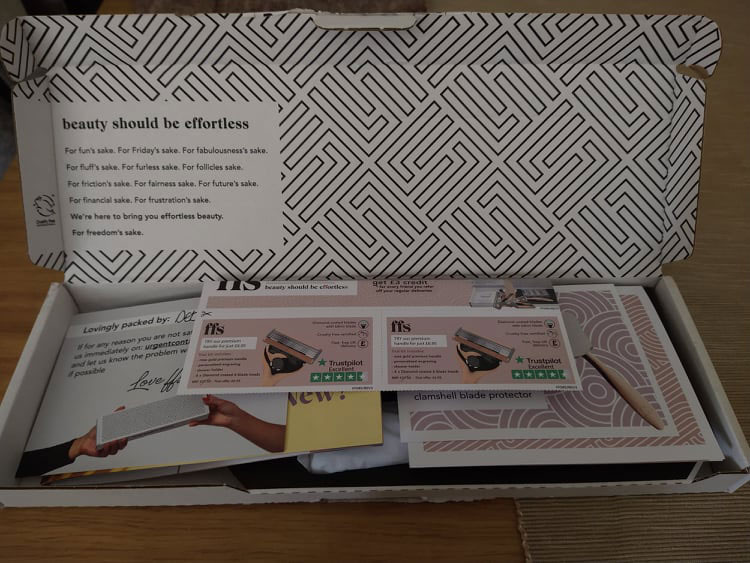 The FFS box, complete with funky black and white pattern and a lot of leaflets on top.